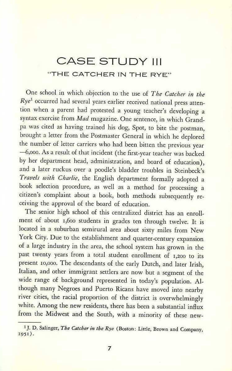 highschool paper on catcher in the Struggling with an essay on catcher in the rye should not be banned read on for a sample and hire expert writers for your paper.