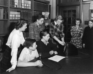 Demonstrating Equipment at University High School Library, 1944-45