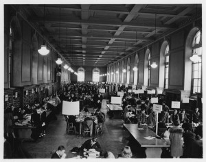 Students registering in the library, 1938