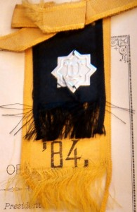 Black and Gold ribbon from Illinois Industrial University, 1884