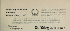 An ad from the 1895 Illio listing blue and orange inventory