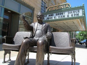 """A statue of film critic Roger Ebert giving his trademark """"thumbs up"""" gesture outside the Virginia Theater in Champaign, IL. Bordwall. 2 June 2015."""