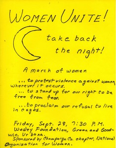 A flyer advertising the Take Back the Night march