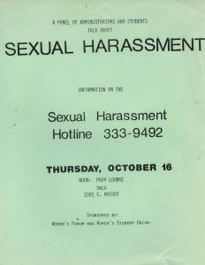 Sexual Harassment Hotline Flyer c. 1980