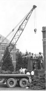 Alma Mater is moved from Foellinger to its current location, August 20, 1962