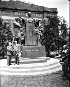 President David Kinley (left) and Lorado Taft in front of Taft's Alma Mater during the sculpture's dedication, 1929
