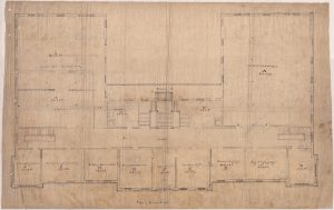 The Second Floor Plan of University Hall with Classrooms Labeled.