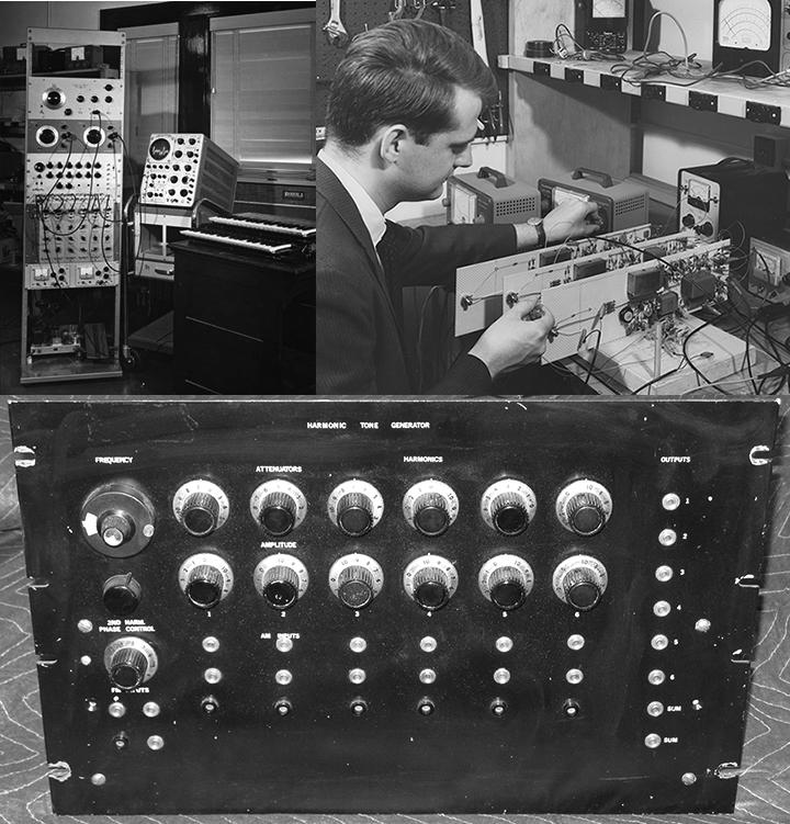 Beauchamp Harmonic Tone Generator (upper left) and James W. Beauchamp Tuning the Harmonic Tone Generator (upper right) in Stiven House, University of Illinois, ca. 1963.