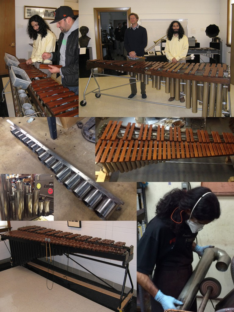 Images taken of the original condition of the Sousa Archives' 1914 Deagan 4728 marimba-xylophone on February 20, 2014 (lower left) through the restoration process and performance on the newly restored instrument by Chris Simon and Andres Bautista on October 22, 2014 (upper right).
