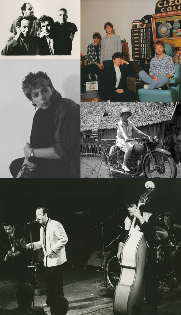 The Bears (front row: Adrian Belew and Rob Fetters; back row: Bob Nyswonger and Chris Arduser), ca. 1980 [top left], Turning Curious at Pogo Studio (Nick Rudd, Jeff Evans, Steve Scariano, and Berni Proeschl), ca. 1983-85 [top right], Della Perrone self-portrait, ca. 1983-84 [center left], Perrone Family photograph, ca. 1945 [center right), and Fabulous Thunderbirds performing at Mabel's, ca. 1980 (guitar: Jimmie Vaughan, vocals/harmonica: Kim Wilson, drums: Fran Christina, and bass: Preston Hubbard)[bottom]