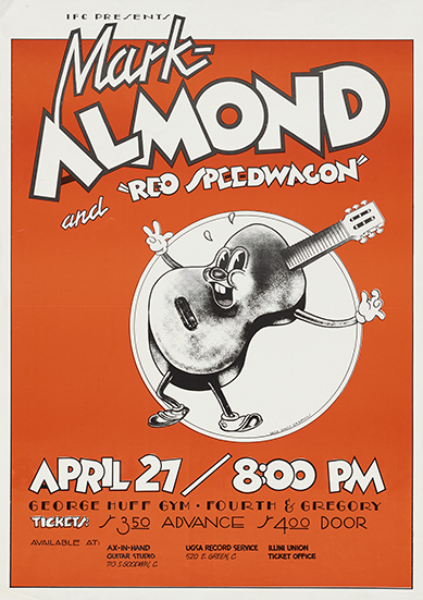 Two-color advertising poster for Mark-Almond and REO Speedwagon performance held at George Huff Gym, University of Illinois, ca. 1970.  Poster from the Jack W. Davis Papers that were acquired November 25, 2014.