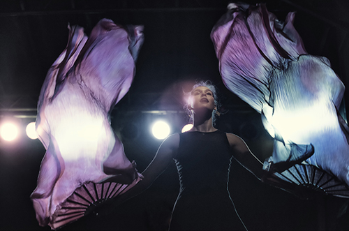 Christine Marie Janak performing with Sun Stereo on August 22, 2014 for Urbana, Illinois' Sweet Corn Festival.  Photograph by Della Perrone.