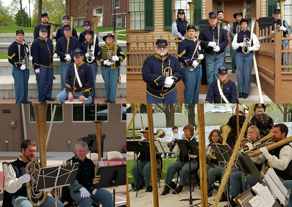 10th Illinois Volunteer Cavalry Regiment Band at Benedictine University, Springfield, IL (top left) and on the steps of the Lincoln home (top right) . Pictured top left front row: Ted Zelinski, second row: Gary Gardner, Rich Stuemke, Rich Kriegsman, Gillian Bauer, Dawn Henry, third row: James McCauley, Maureen Reagan, Elizabeth Jones.