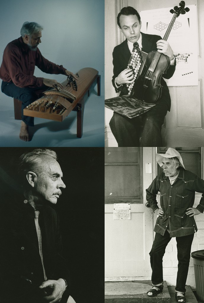 Harry Partch seated at the Koto, c. 1966 (top left) and with his Monophone, c. 1933 (top right).  Portrait of Harry Partch at an unidentified location, c. 1960 (bottom left) and Partch standing at his front door in Encinitas, California, 1972 (bottom right)