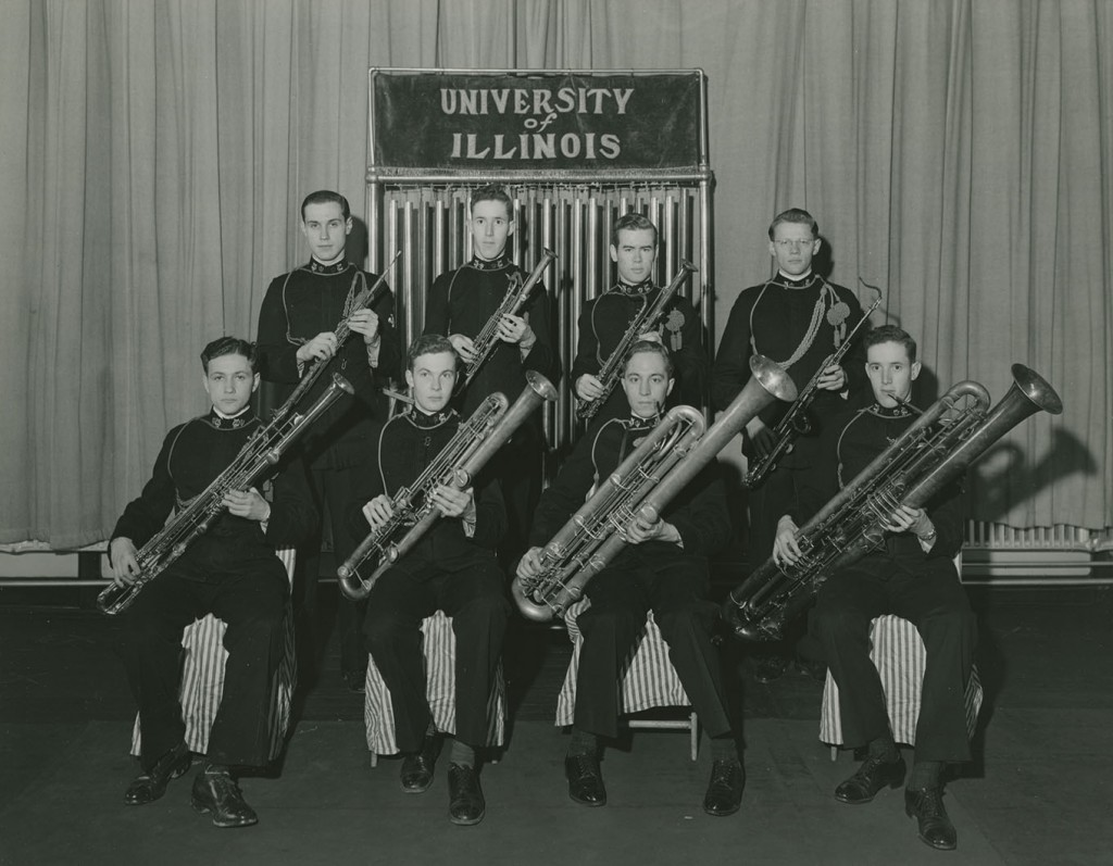University of Illinois Concert Band sarrusophone section seated in University Auditorium, c. 1920.