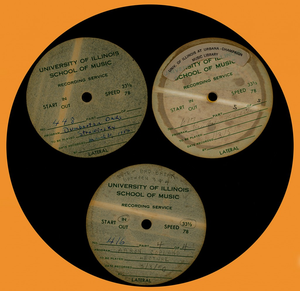 School of Music Audio Department Transcription discs of recordings of Aaron Copland, Igor Stravinsky, and Paul Hindemith, 1950-1951.