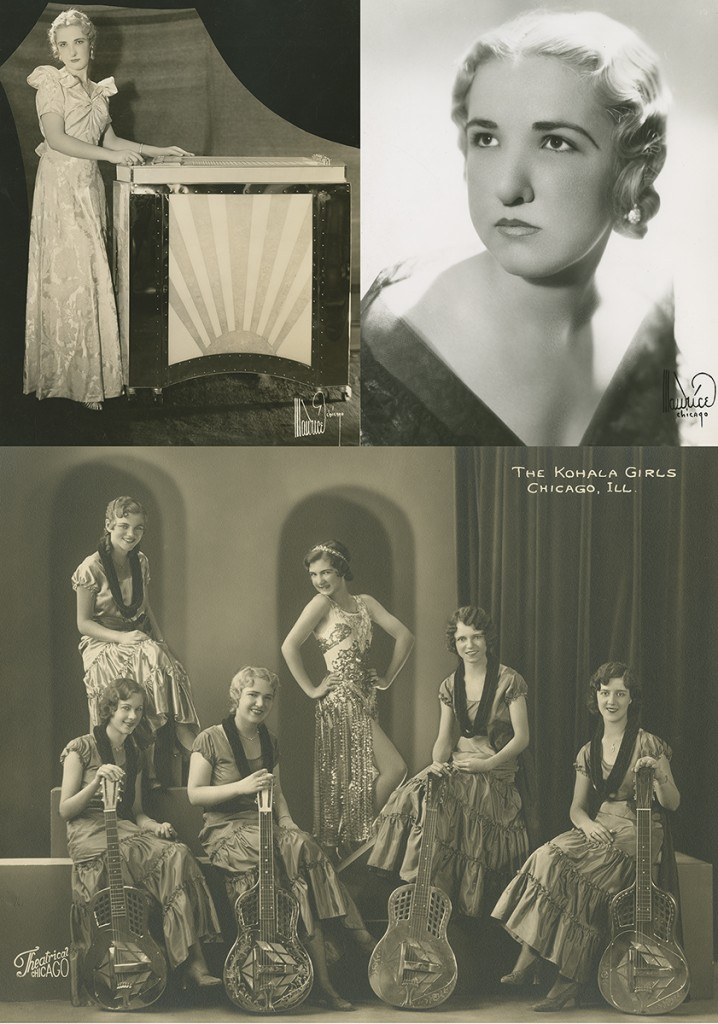 Letritia Kandle standing with the Grand Letar, c. 1937 (top left), Letritia Kandle portrait, c. 1940 (top right), and the Kohala Girls with Letritia, c. 1934 (seated front row).
