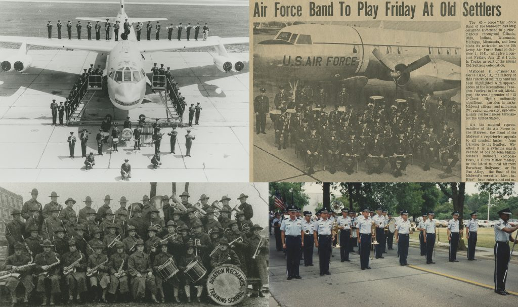 505th Air Force Band of the Midwest standing on a Boeing B-52D bomber, ca. 1960s (top left), 505th Concert Band sitting in front of a Douglas DC-3 October, 1941 (top right), Chanute Field band, ca. 1918 (bottom left), and 505th Air Force Band marching, 1991.