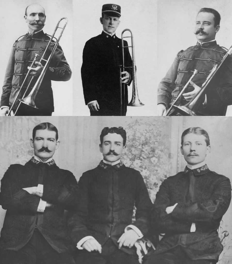 Marcus Lyons (top left), Manuel Yingling (top center), Edward A. Williams (top right), and two unidentified Sousa Band members with Arthur Pryor (bottom right)