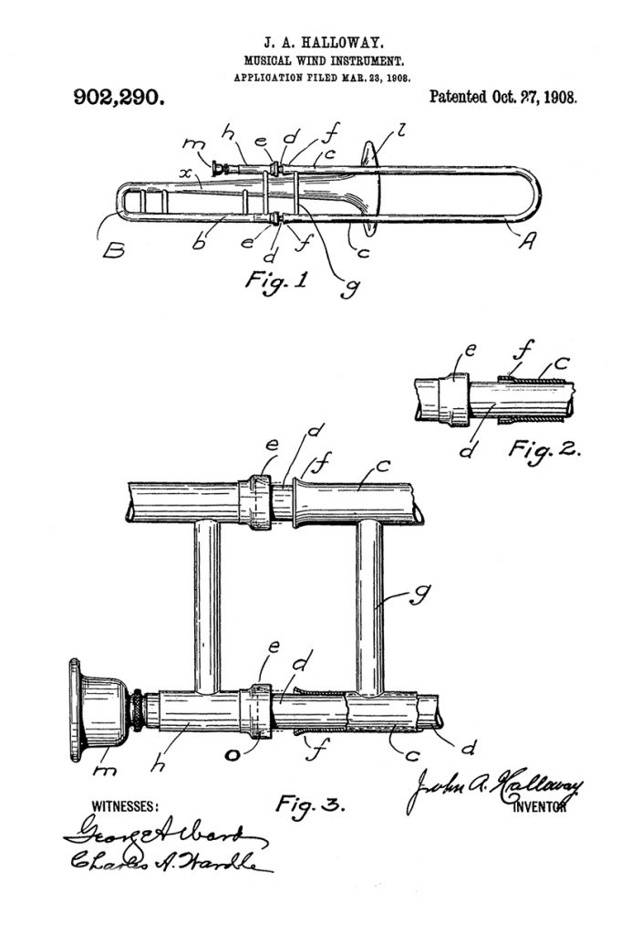 Holton Slide Patent by John A. Halloway, 1916