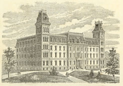 Engraving of University Hall, ca. 1870