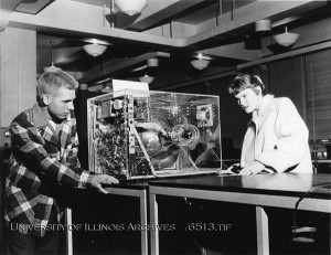 Photo of visitors at an Engineering Open House exhibit, ca. 1959. Found in Record Series 11/1/12.