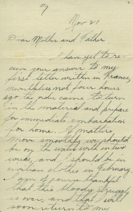 First page of Mason letter, November 21, 1918.