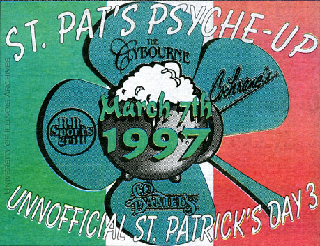 "Print ad for ""Unnofficial [sic] St. Patrick's Day 3"" Found in RS 41/8/801, March 6, 1997"