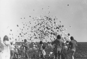 Balloon release, Clinton nuclear power plant, April 1, 1978.