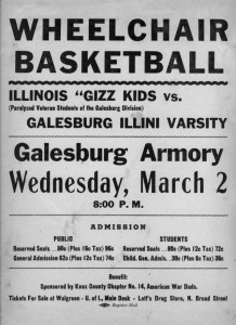 Publicity for a Wheelchair Basketball Game March 2, 1949
