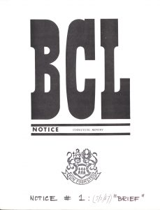 BCL Notice on Cognitive Memory, 1967, found in record series 11/6/17, box 8.